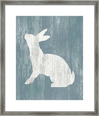 Rustic Rabbit On Wood Framed Print