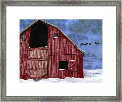Rustic Red Barn In Winter Framed Print by Sarah Batalka