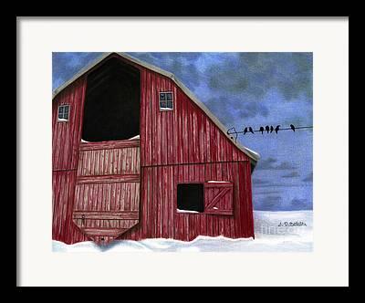 Barn In Snow Framed Prints