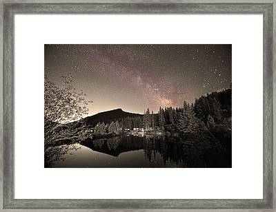 Rustic Rocky Mountain Cabin Milky Way Sepia View Framed Print