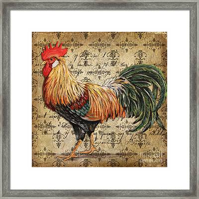 Rustic Rooster-jp2121 Framed Print by Jean Plout