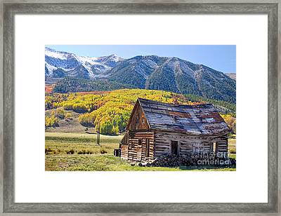 Rustic Rural Colorado Cabin Autumn Landscape Framed Print by James BO  Insogna