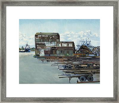 Rustic Schnitzer Steel Building With Trailers At The Port Of Oakland  Framed Print by Asha Carolyn Young