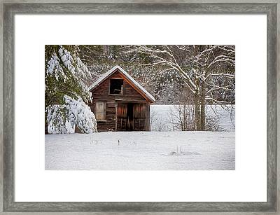 Rustic Shack In Snow Framed Print