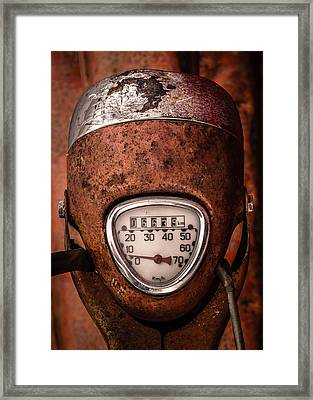 Rustic Speedometer Dial On Vintage Scooter Framed Print by Mr Doomits