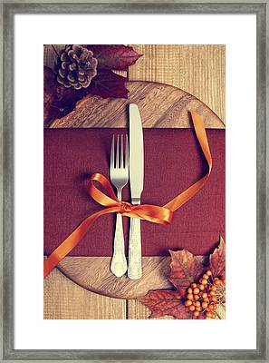 Rustic Table Setting For Autumn Framed Print by Amanda Elwell