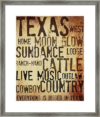 Rustic Texas Art Framed Print
