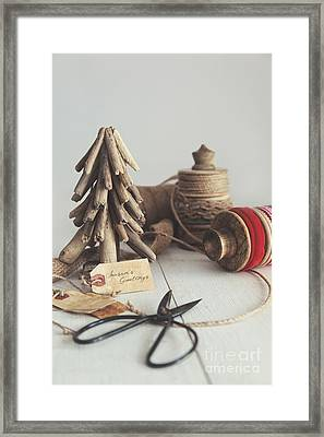 Rustic Twine And Ribbon For Wrapping Gifts Framed Print