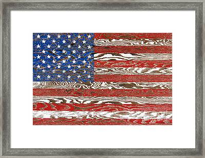 Rustic Usa Flag-jp2569 Framed Print