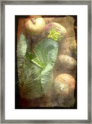 Rustic Vegetable Fruit Medley IIi Framed Print by Suzanne Powers