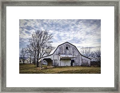 Rustic White Barn Framed Print