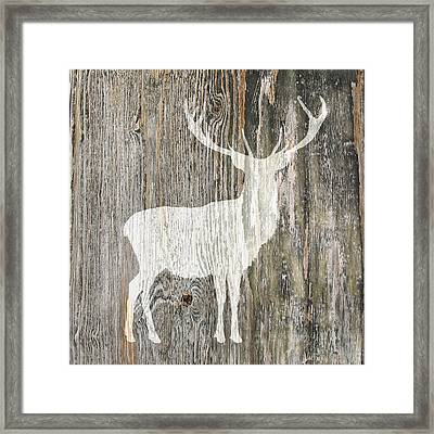 Rustic White Stag Deer Silhouette On Wood Right Facing Framed Print by Suzanne Powers