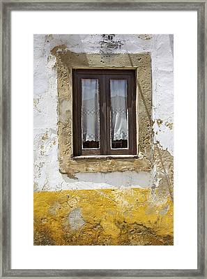 Rustic Window Of Medieval Obidos Framed Print by David Letts