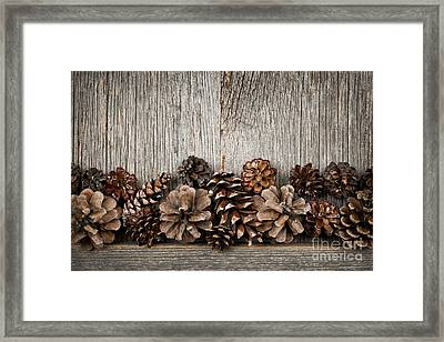 Rustic Wood With Pine Cones Framed Print