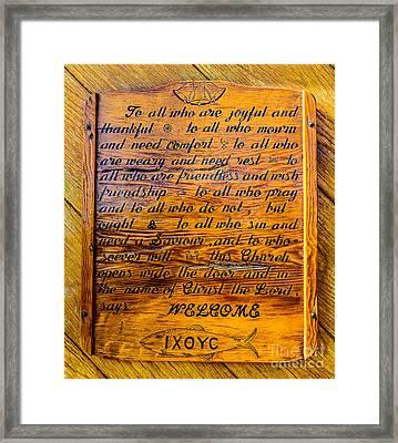 Rustic Wooden Alaska Church Sign   Framed Print by Gary Whitton