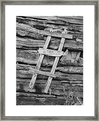 Rustic Wooden Ladder Nailed To Side Of Log Cabin Framed Print