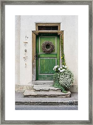 Rustic Wooden Village Door - Austria Framed Print