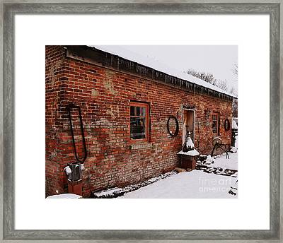 Rustic Workshop In Winter Framed Print