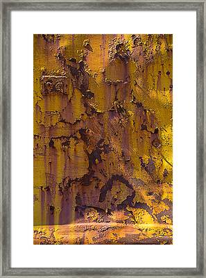 Rusting Yellow Metal Framed Print by Garry Gay