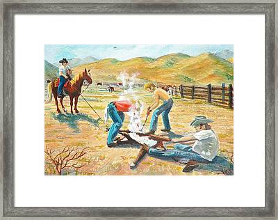 Framed Print featuring the painting Rustlers Changing The Brand by Dan Redmon