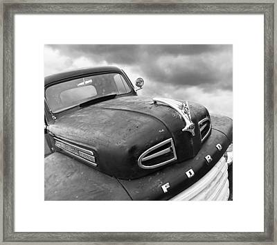 Rusty 1948 Ford V8 In Black And White Framed Print by Gill Billington