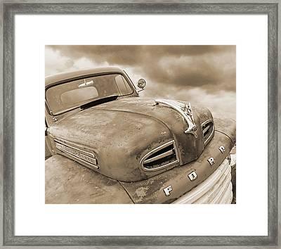 Rusty 1948 Ford V8 In Sepia Framed Print by Gill Billington