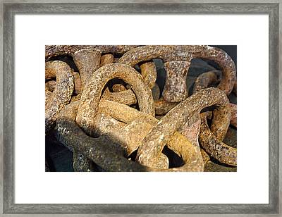 Rusty Antique Ship Chain Framed Print by Linda Phelps