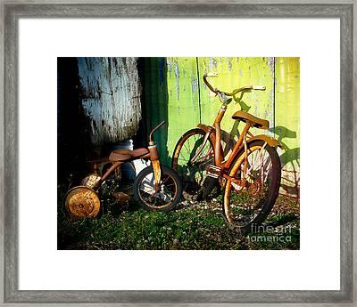 Rusty Bike Rides Framed Print by Sonja Quintero