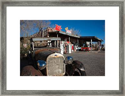 Rusty Car At Old Route 66 Visitor Framed Print by Panoramic Images