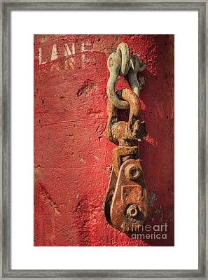 Rusty Chain On A Concrete Post Framed Print by James Eddy