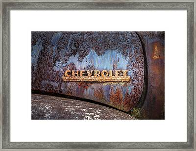 Framed Print featuring the photograph Rusty Chevrolet - Nameplate - Old Chevy Sign by Gary Heller