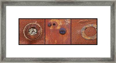 Rusty Circles Triptych Framed Print by Art Block Collections
