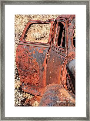 Framed Print featuring the photograph Rusty Doors by Sue Smith