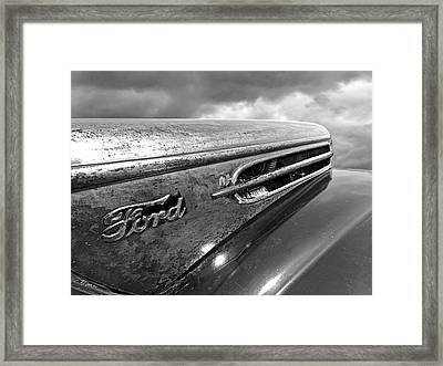 Rusty Ford Hood And Fender 1942 Black And White Framed Print by Gill Billington