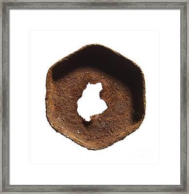 Rusty Hexagon Part Framed Print