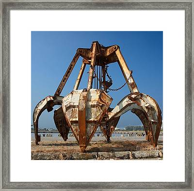 Rusty Obsolete Dredging Equipment Framed Print by Yali Shi