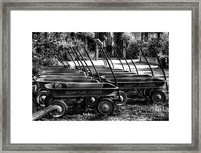 Rusty Old Wagons Bw Framed Print by Mel Steinhauer