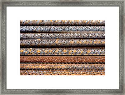 Rusty Rebar Rods Metallic Pattern Framed Print