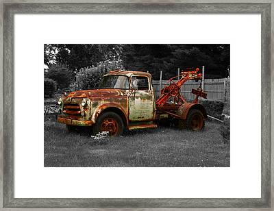 Rusty Tow Truck Framed Print