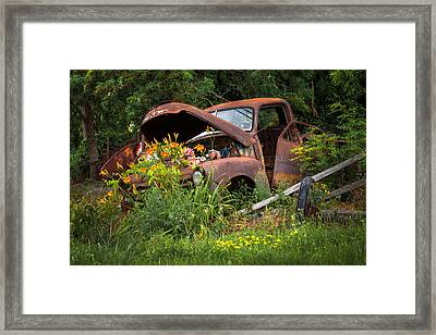 Framed Print featuring the photograph Rusty Truck Flower Bed - Charming Rustic Country by Gary Heller