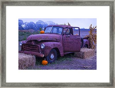 Rusty Truck With Pumpkins Framed Print by Garry Gay