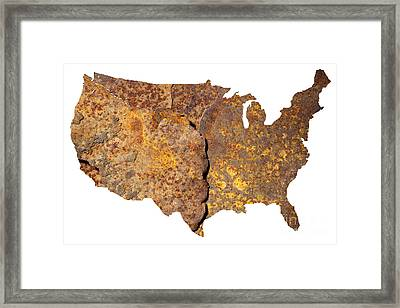 Rusty Usa Map Framed Print by Tony Cordoza
