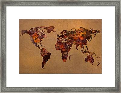 Rusty Vintage World Map On Old Metal Sheet Wall Framed Print