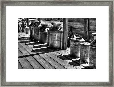 Rusty Western Cans Bw Framed Print by Mel Steinhauer