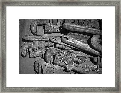 Rusty Wrenches Bw Framed Print by Dave Gordon