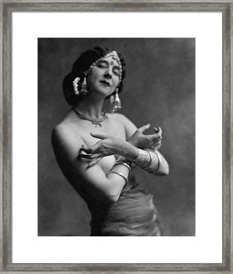 Ruth St. Denis Wearing A Headdress Framed Print by Nickolas Muray