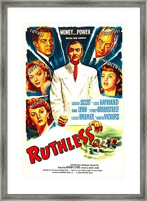 Ruthless, Us Poster, Zachary Scott Framed Print