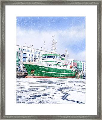 Rv Celtic Explorer In Port At Galway Harbor Framed Print by Mark E Tisdale