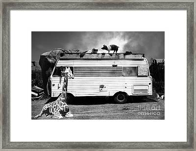 Rv Trailer Park 5d22705 Black And White Framed Print by Wingsdomain Art and Photography