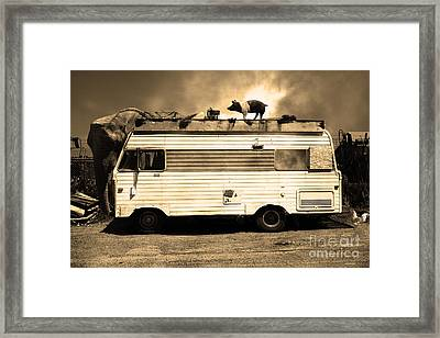 Rv Trailer Park 5d22705 Sepia V2 Framed Print by Wingsdomain Art and Photography